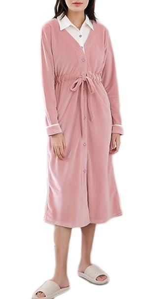 Pijama De Franela De Lujo Para Damas Hotel De Ducha Pijamas De Mangas Largas Rosa Falda