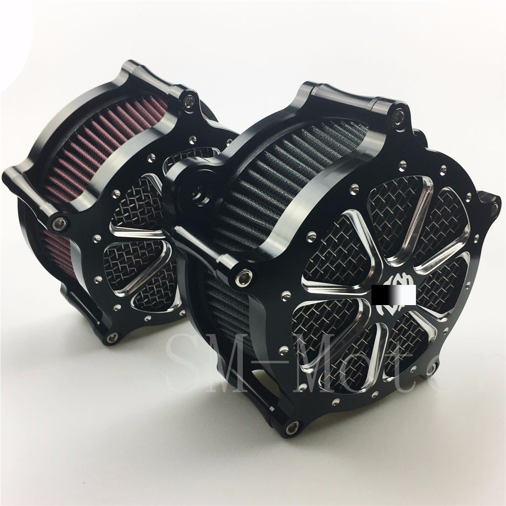 Black CNC Air Cleaner Intake Filter System for Harley Softail Touring Dyna Parts 01-07