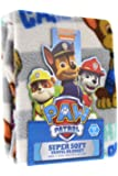 "Paw Patrol Super Comfy & Soft Travel Blanket/Throw with Chase Is On The Case w/Stripes Design 40"" x 50"""