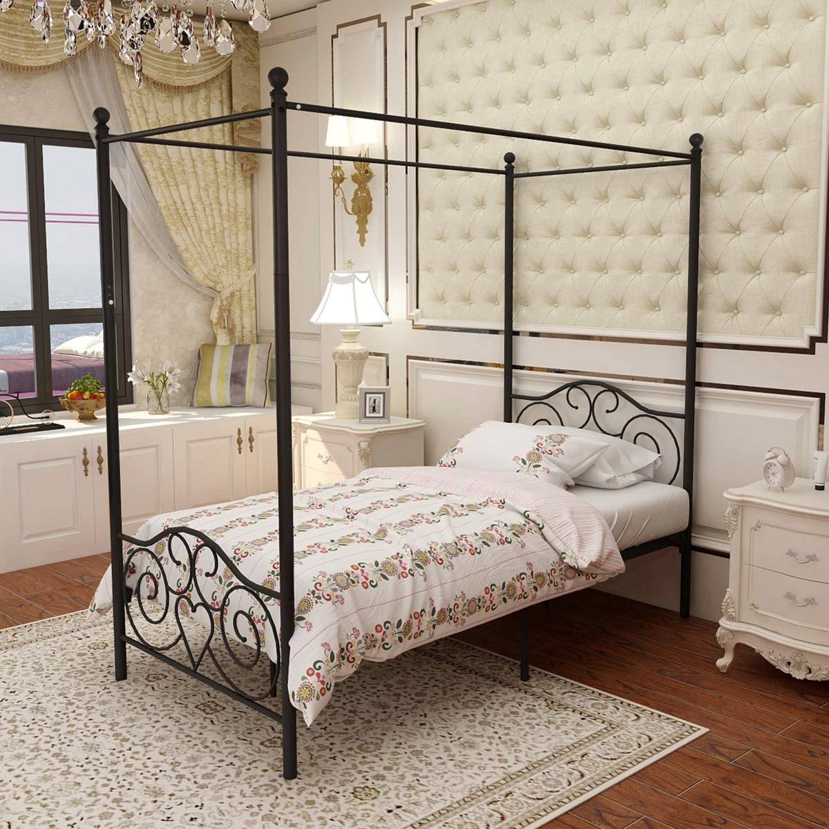 - Amazon.com: JURMERRY Metal Canopy Bed Frame Platform With Vintage