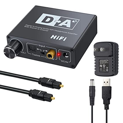 AUTOUTLET DAC Digital to Analog Converter with Volume Control Bi-Directional Optical Toslink to Digital
