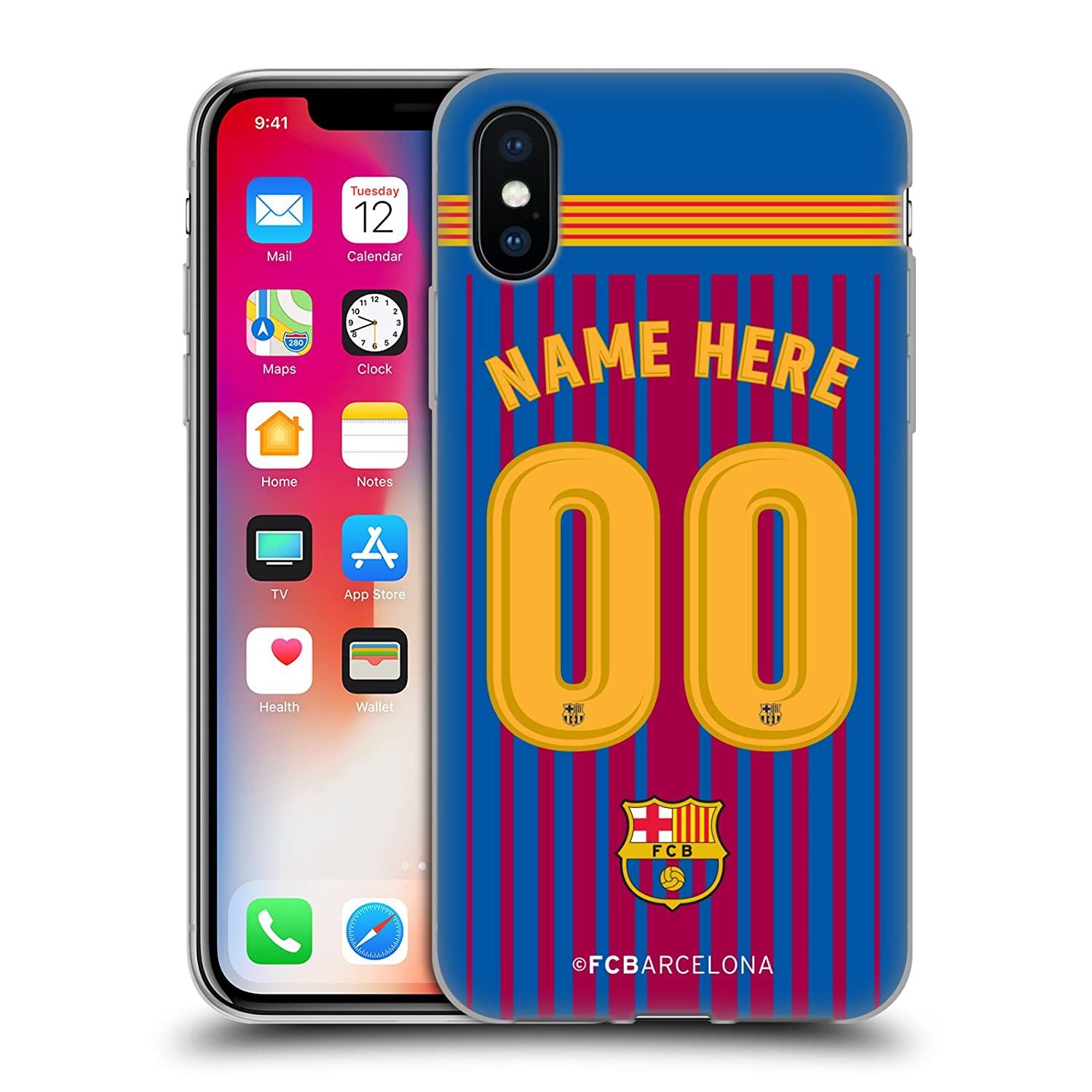 d9798714f98 Amazon.com  Custom Customized Personalized FC Barcelona Home 2017 18 Kit  Soft Gel Case for iPhone X iPhone Xs  Cell Phones   Accessories