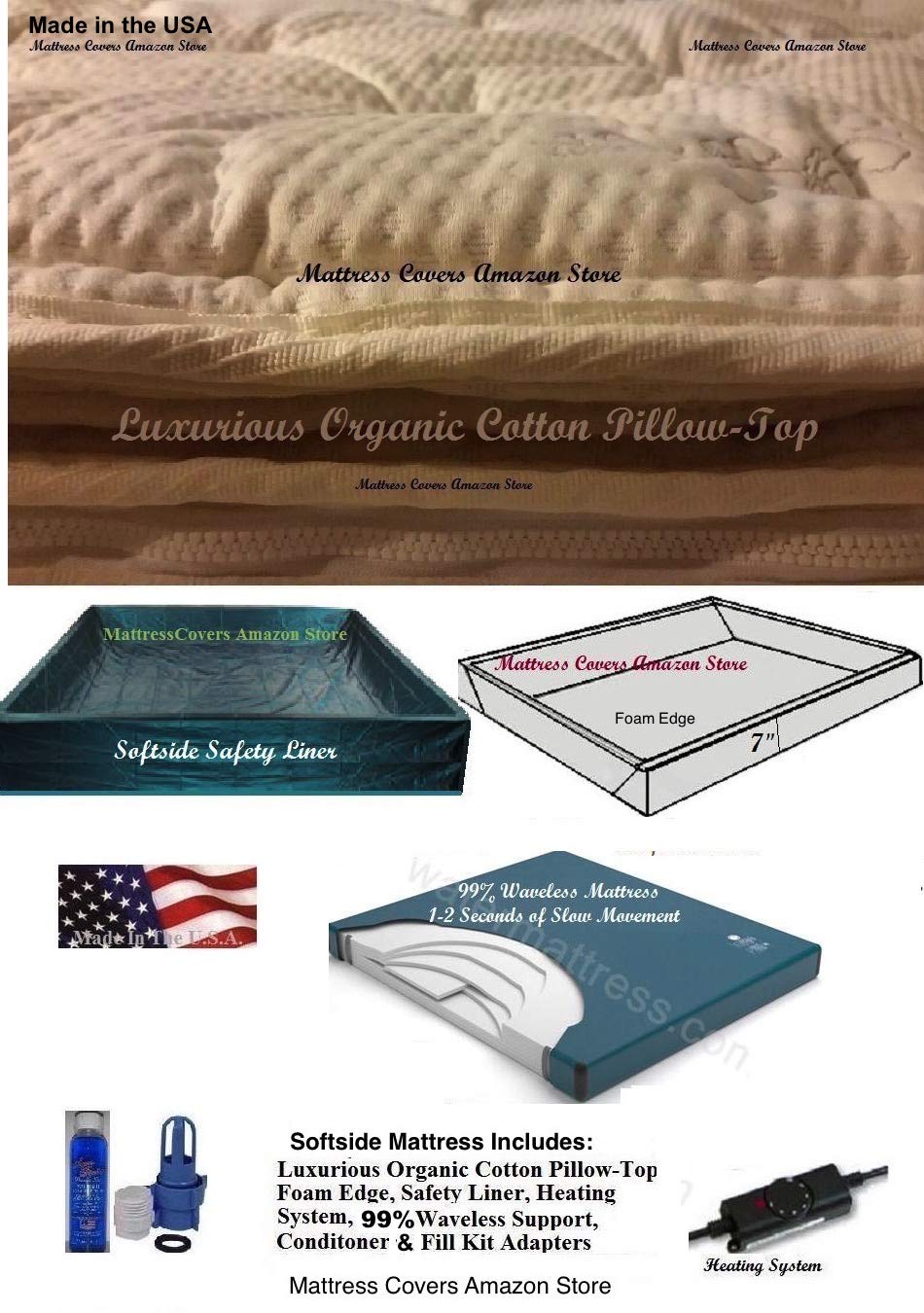 King Softsided Waterbed Mattress with Cotton Pillowtop & 99 Percent Waveless Support by United States Water Mattress