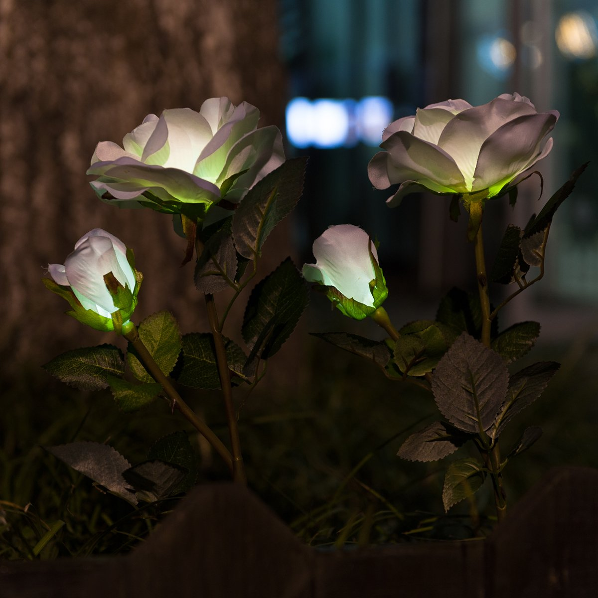 WED Outdoor Solar Garden Stake Lights 2 Pack Solar Powered Lights with 6 Rose Flower, White LED Solar Decorative Lights for Garden, Patio, Backyard