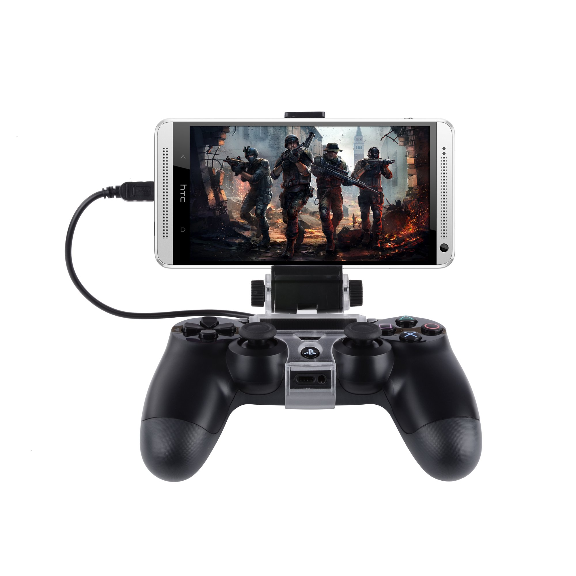 Megadream PS4 Controller Android Phone Gaming Mount Holder for Sony Playstation PS4, PS4 Slim, PS4 Pro & Samsung Galaxy S8 S8+ S7 Edge S7 S6 Note 8 6, HTC, LG, Sony, Nokia, Huawei with OTG Data Cable by Megadream