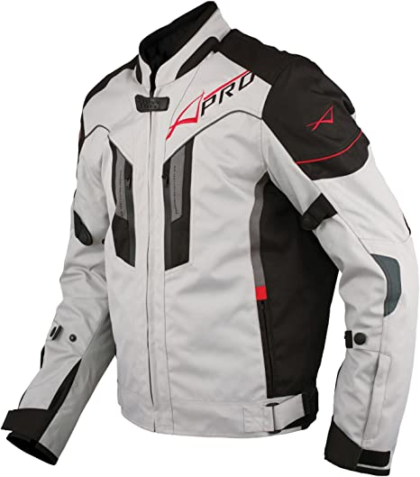 A Pro Textil Motorrad Jacke Wasserdichte Ce Protektoren Reflektirende Grau M Auto