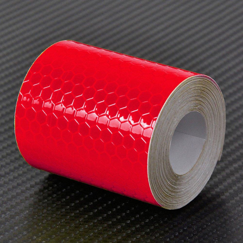 Elisona-Car Reflective Sticker Roll Strip 118.11 x 1.97inches Self-adhesive Super Reflective Brightness Warning Tape Film Reflectors Red