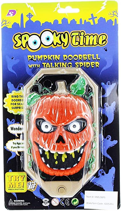 Haunted House Spooky Talking Halloween Doorbell With Lights Sounds And Surprise Spider ~ Mummified Skull by Carousel