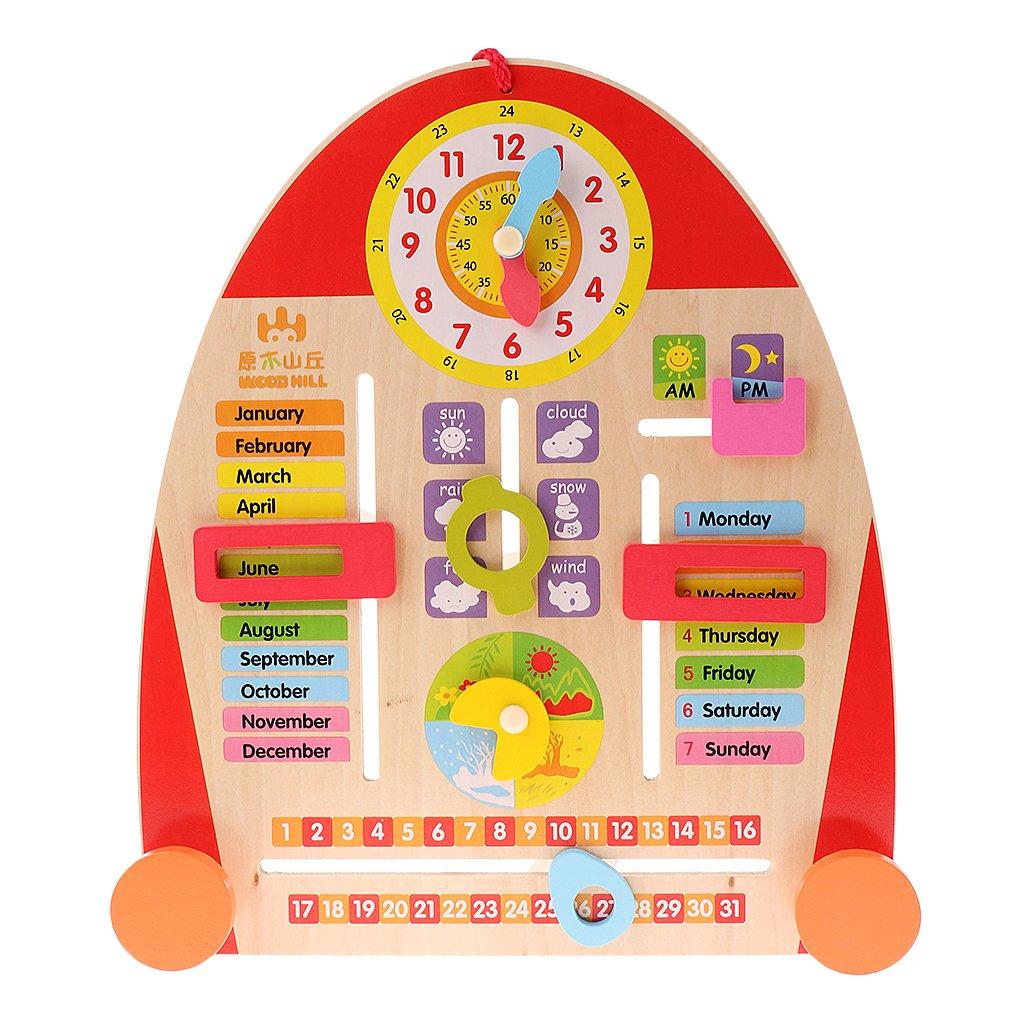 Fityle 1pc Multifunctional Cartoon Calendar Board Teaching Clock for Kids Wooden Toys