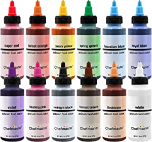 Chefmaster Air Brush Color Variety Pack, Twelve 2 oz. bottles