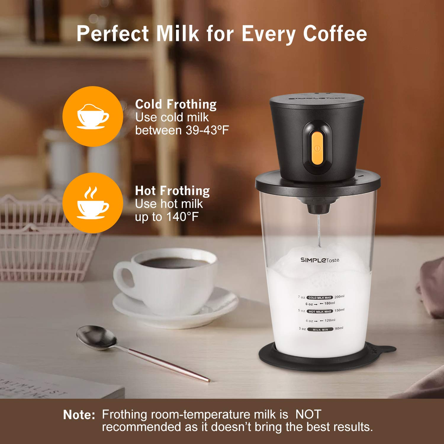 SIMPLETASTE Electric Milk Frother Automatic Battery Operated Foam Maker Coffee, Cappuccino and Latte, 3.74 x 3.74 x 7.68 inch, Black by SIMPLETASTE (Image #5)