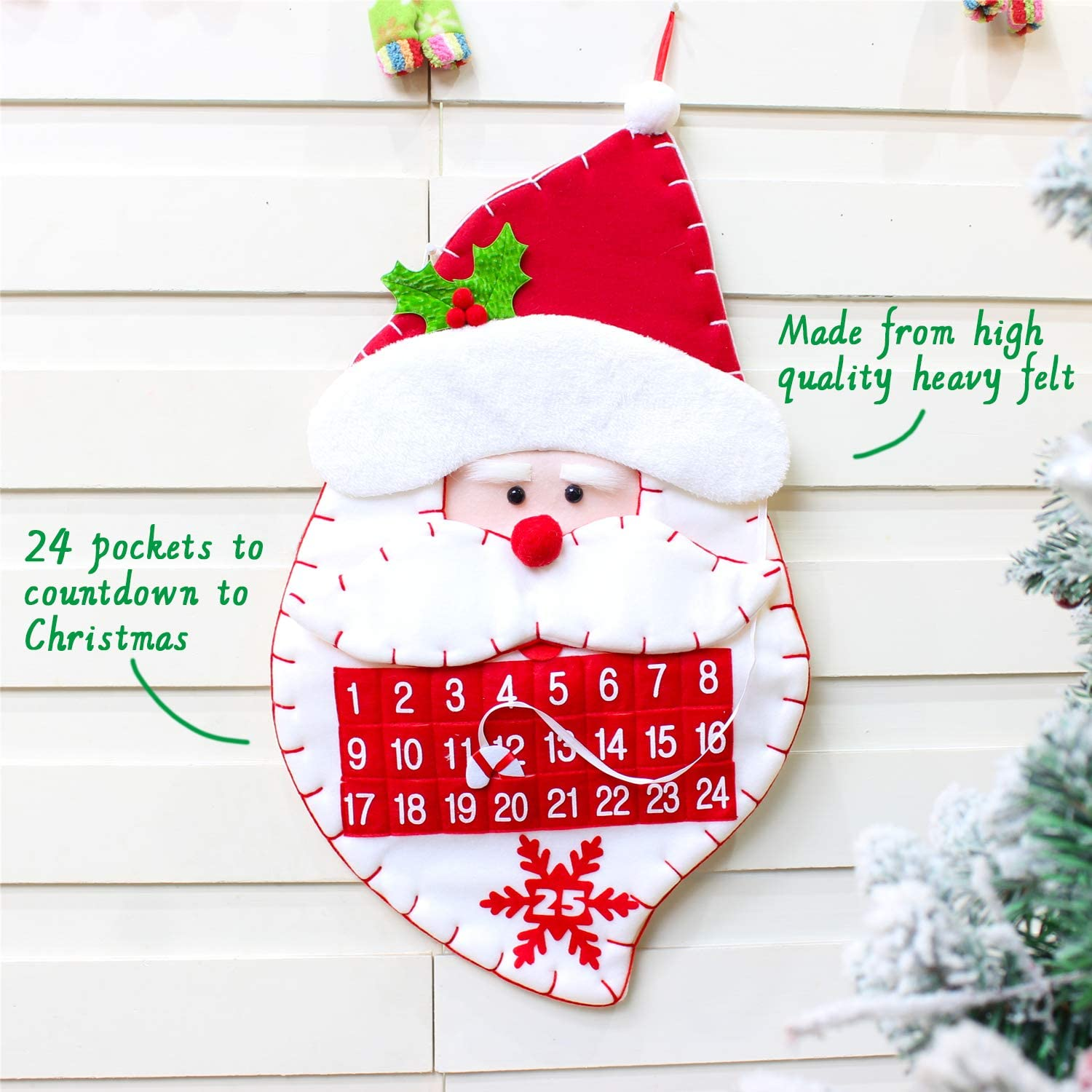 Decoration Family Friendly for All Ages Christmas Xmas Noel Felt Christmas Advent Calendar with 24 Numbered Pockets Hanging Santa Claus Countdown to Christmas Calendar Activity Advent