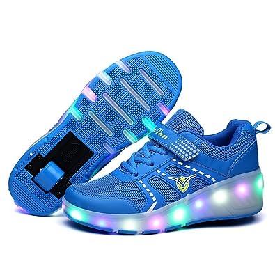 Believed Children Tenis LED Sneakers Wheels Led Luminous Boys Girls Roller  Glowing Sneakers(Blue 32 adb8f0cdf58a