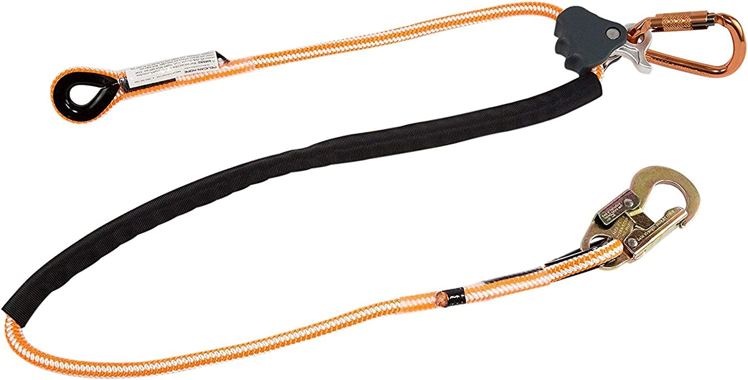 1//2 in Pelican Rope Arborist-16 Adjustable Work Positioning Lanyard with Steel Snap Hook Tree Care 12 feet ANSI Certified All-In-One Kit for Arborist Tower Climbing Rigging