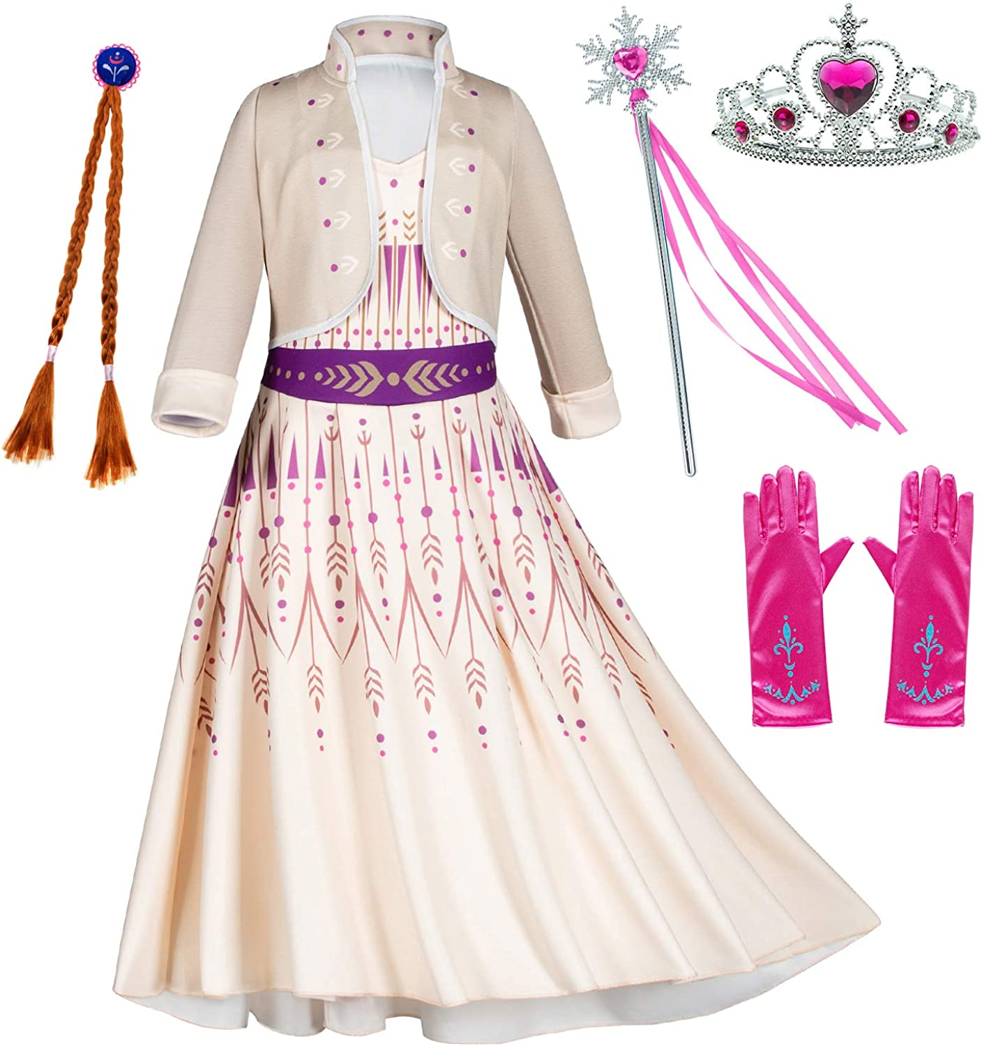 Princess Snow Queen Act 2 Costumes with Wig,Crown,Mace,Gloves Accessories 2T-9