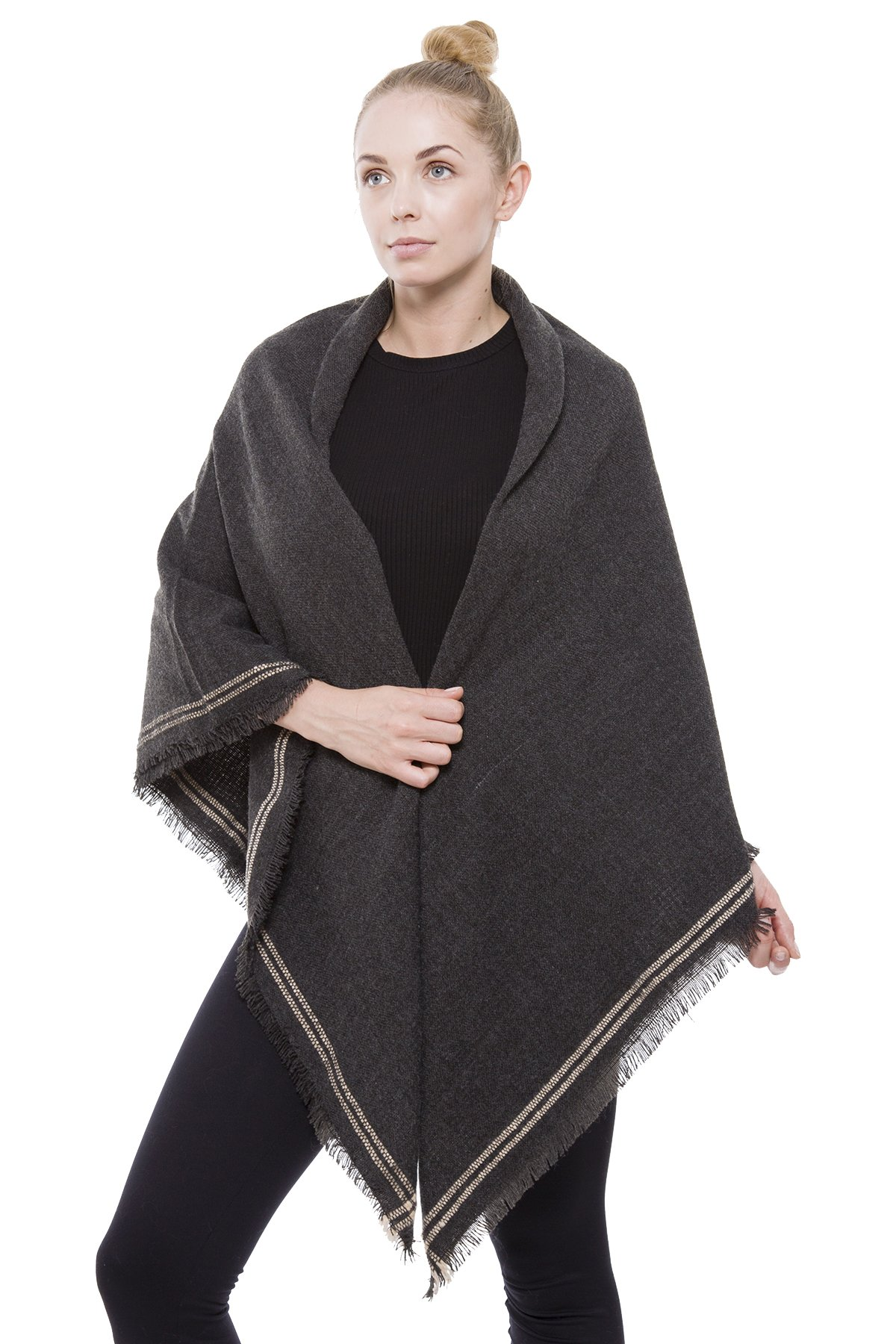 BYOS Women Winter Versatile Chic Tartan Plaid Oversized Blanket Scarf Wrap Shawl (Double Line Border Charcoal Gray)