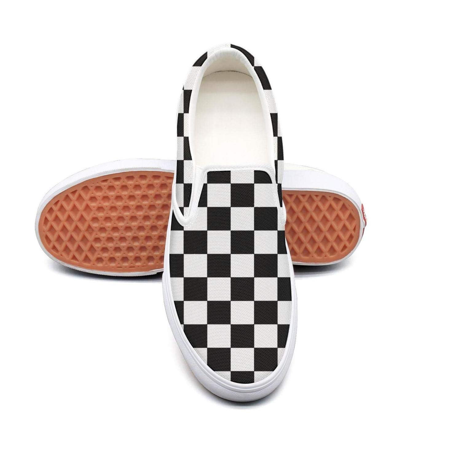 fad1296e275 Amazon.com  LLOOWWXXP Colorful Checkered Black Off White Men s Classic Checkerboard  Slip-On Skate Shoe  Sports   Outdoors