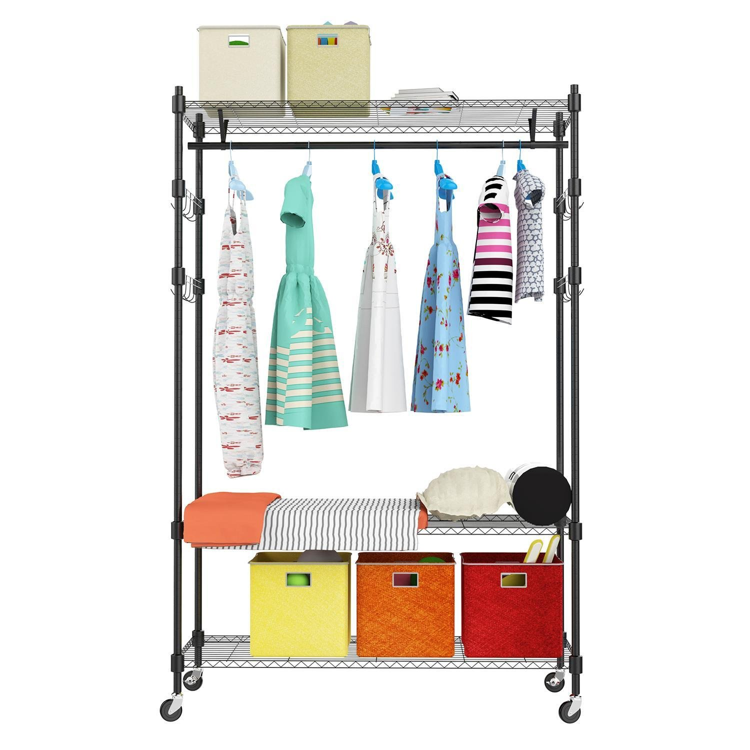 Goodfans 3-Tier Heavy Duty Rolling Garment Clothes Rack with Shelves, Chrome Finish (US Stock)