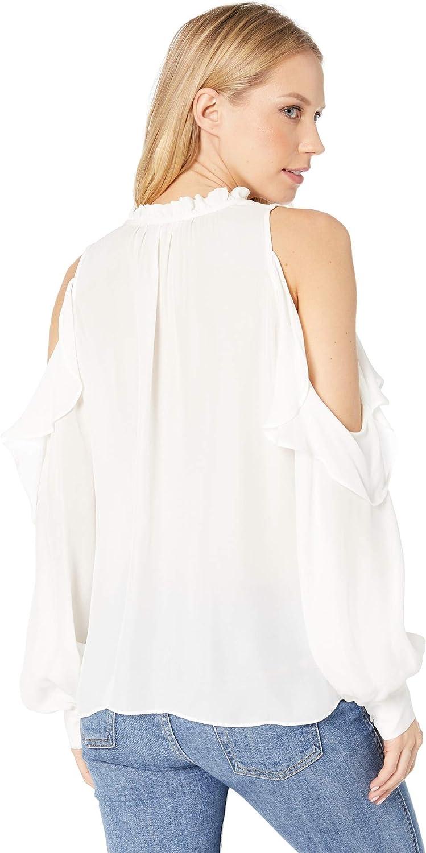 Parker Womens Marjorie Long Sleeve Cold Shoulder Ruffle Blouse