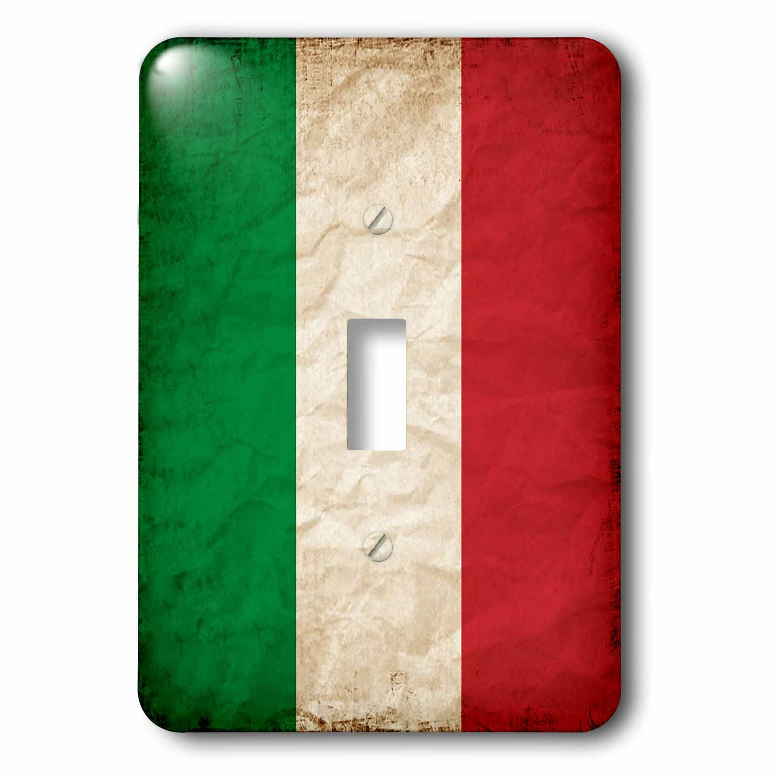 3dRose Sven Herkenrath Flags - Italian Flag Old Look Trendy Work - Light Switch Covers - single toggle switch (lsp_255823_1)