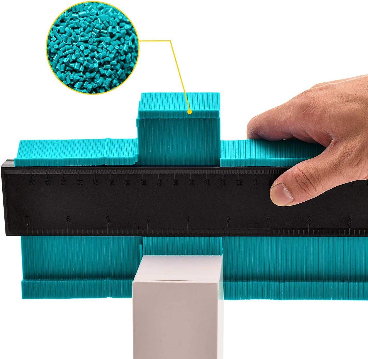 Bleu GeekerChip Jauge de Contour Plastique,250mm Contour Duplicator Gauge,Decoupe pour Jauge de Profil pour conduits en Plastique Tuyaux de Bobinage Cadres Circulaires