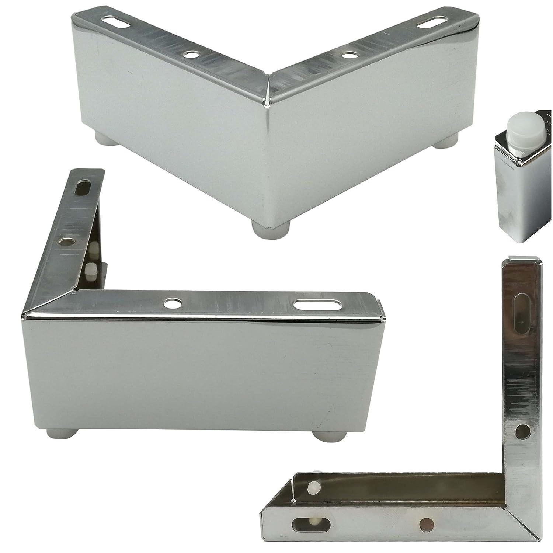 Euro Tische Lot de 4 Pieds de Meuble Design pour Meuble 12 x 12 x 5 cm Pieds chromé s