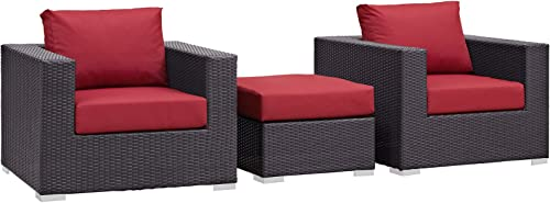 Modway Convene Wicker Rattan 3-Piece Outdoor Patio Furniture Set