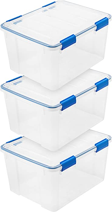 IRIS USA WSB-SD WEATHERTIGHT Multi-Purpose Storage Box, 44 Quart, Clear with Blue Buckles, 3 Count