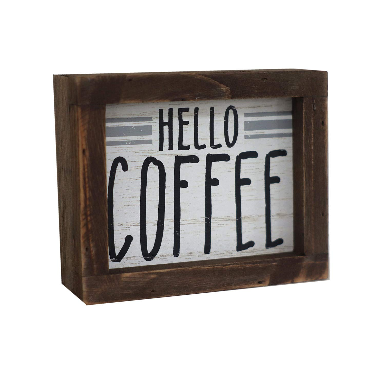 Parisloft Hello Coffee Barn Wood Small Box Sign for Kitchen Decor Coffee Bar, Rustic Wooden Coffee Sign Plaque Freestanding Farmhouse Kitchen Decor Wood Home Decor 5.8''x4.8''