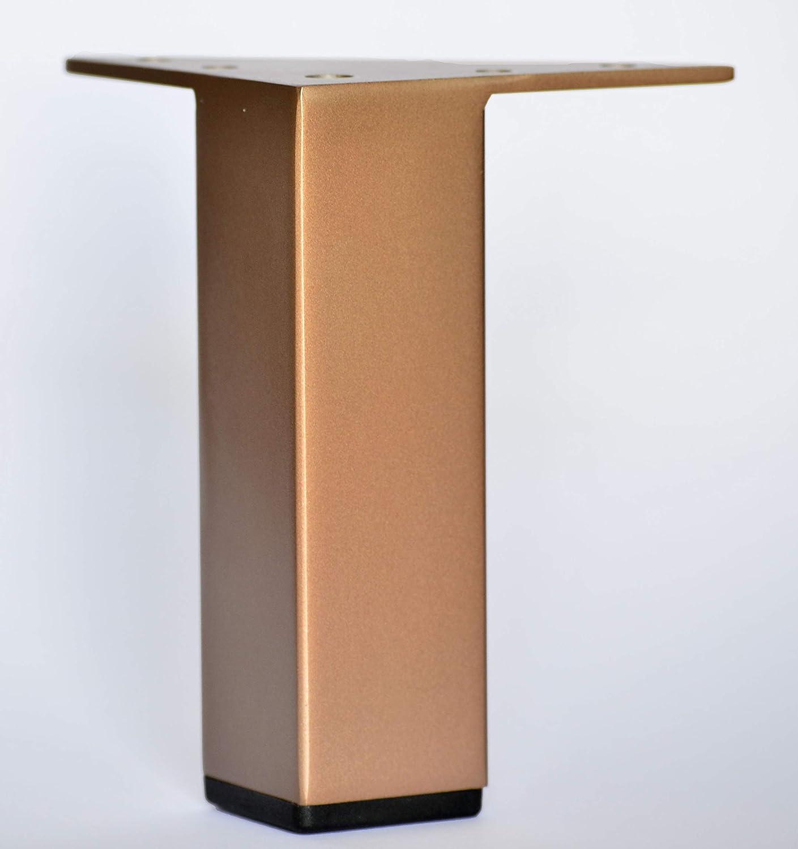 "Alpha Furnishings Rose Gold Finish 5 Inch 5"" Square Metal Legs, 4pc Set, DIY Affordable! Fast Ship!"