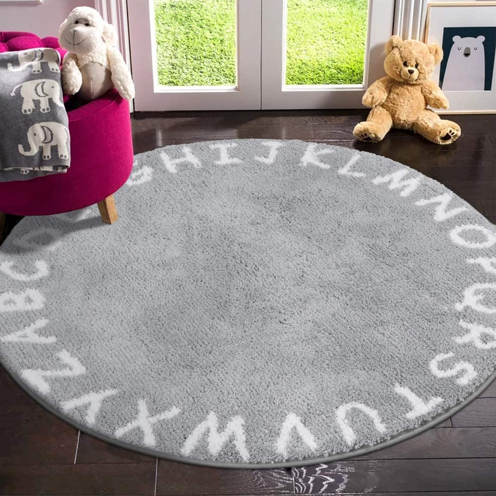 LIVEBOX ABC Kids Play Mat, Alphabet 4ft Round Area Rugs Soft Plush Educational Learning & Game Baby Crawling Mat Non-Slip Tufted Throw Carpet for Nursery Decor Bedroom Best Shower Gift(Gray)