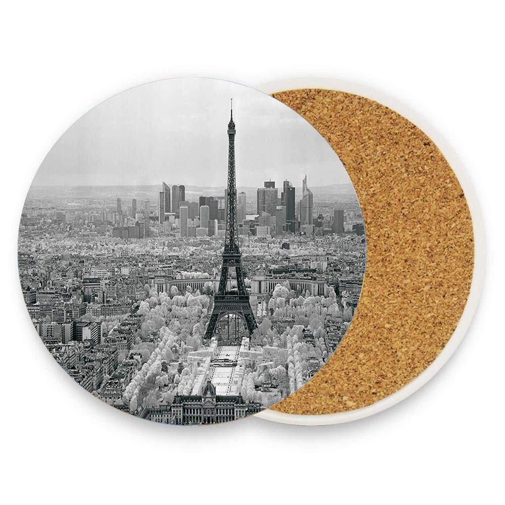 ドリンク用コースター セラミックラウンドコルク鍋敷き 耐熱性 ホットパッド テーブルカップマット コースター 1パック  The Eiffel Tower Paris City Structure Morning Scenic Monochrome Classic Simple Art B07RRT7SH1