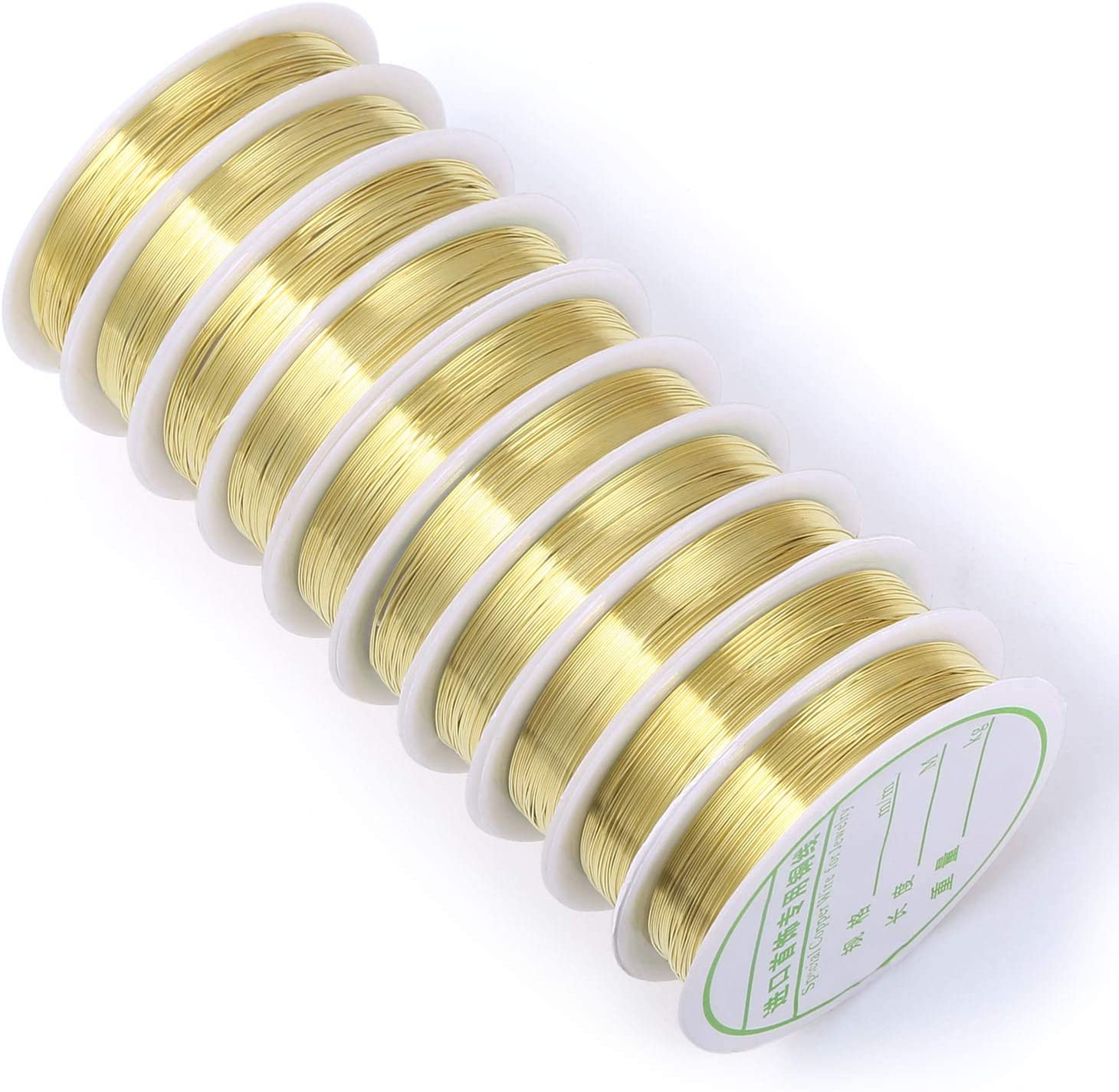 24 Gauge Brass Wire Light Gold Plated Tarnish Resistant Wire Supplies for Jewelry Making and Craft(197-Feet,65-Yard)