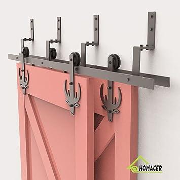 Black Rustic Heavy Duty Interior Exterior Use Homacer Sliding Barn Door Hardware Single Track Bypass Double Door Kit 7FT Flat Track Black Wheel Design Roller