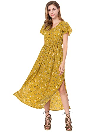 Allegra K Ladies Summer V-Neck Short Sleeves Split Sides Evening Floral Maxi Dress