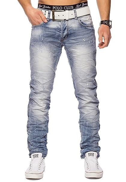 ArizonaShopping - Jeans Pantalones Vaqueros Azules claros adelgazantes Bondy ID1414 Slim Fit para Hombre