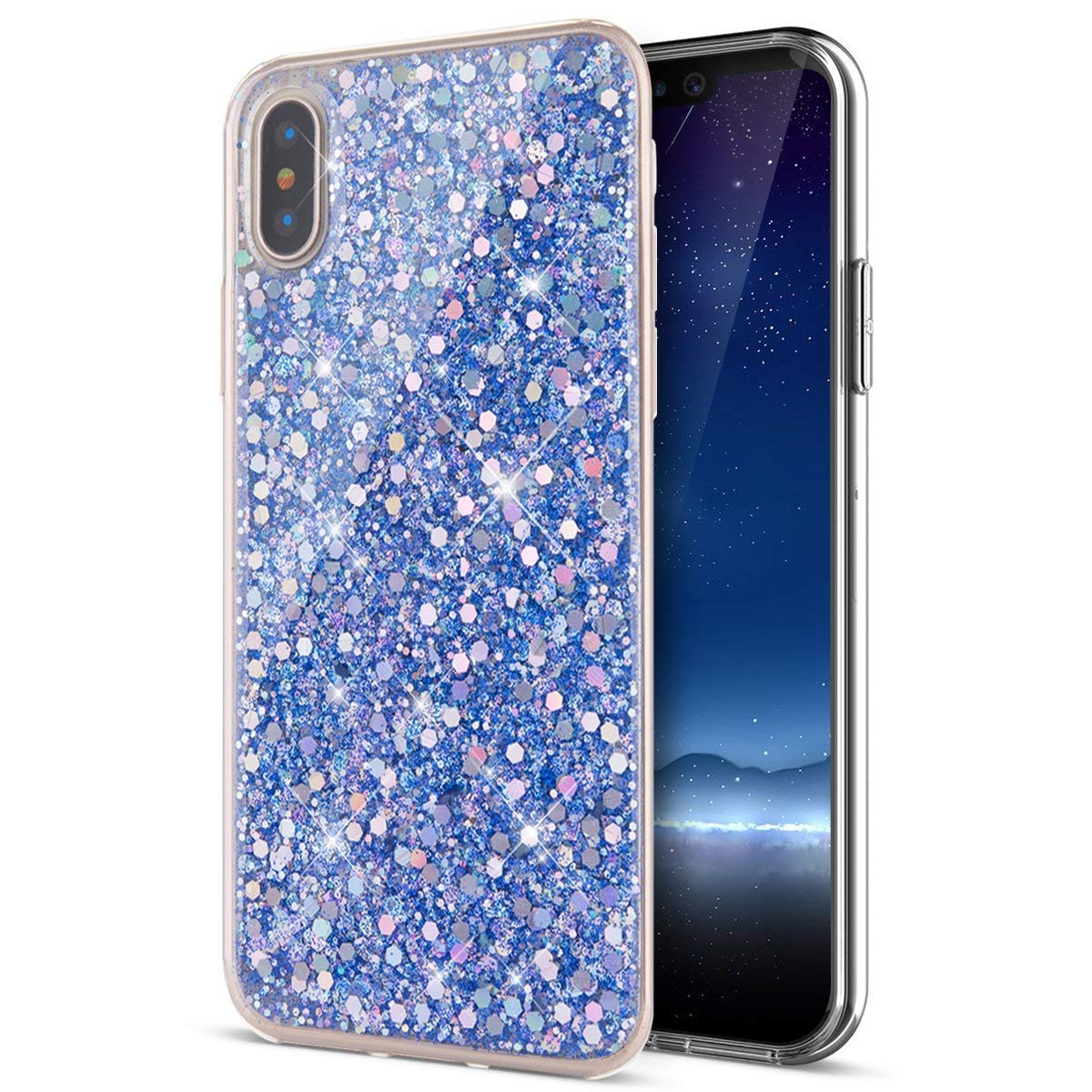 Felfy Kompatibel mit iPhone XR H/ülle Transparent Kristall Bling Glitter Luxus Pailletten Mode Cute S/ü/ße Schutzh/ülle Ultra D/ünn Weich Silikon TPU Handy Tasche Kratzfeste Cover Case,Silber