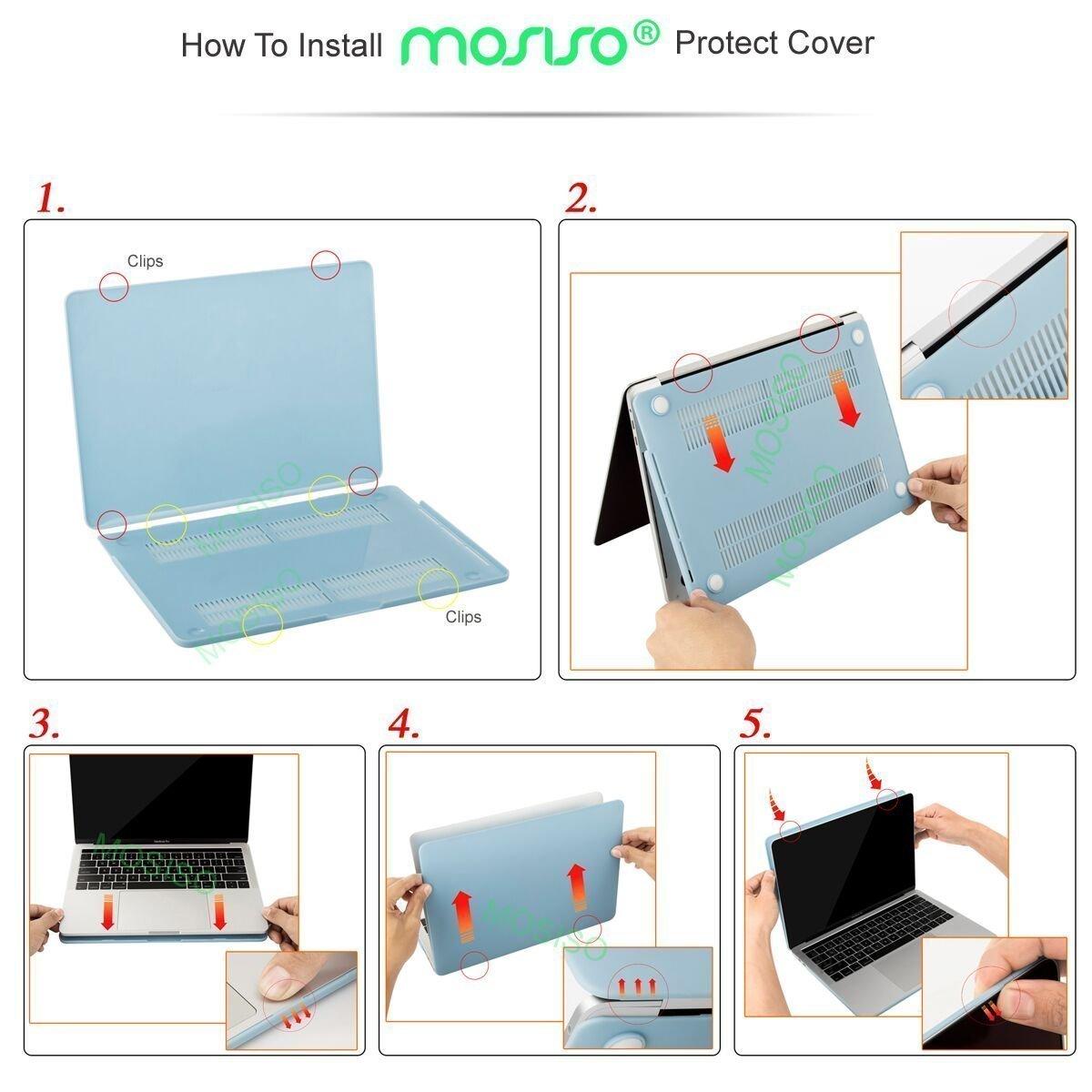 MOSISO H/ülle Kompatibel MacBook Pro 13 2018/&2017/&2016 Version A1989//A1706//A1708 Plastik H/ülle mit Klar Tastaturschutz mit Displayschutz Kompatibel MacBook Pro 13 Zoll Klar//Kristall