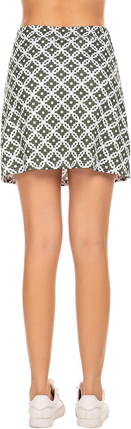 Ekouaer Womens Skorts Active Performance Sport Skirts with Pockets 2 Layer Shorts