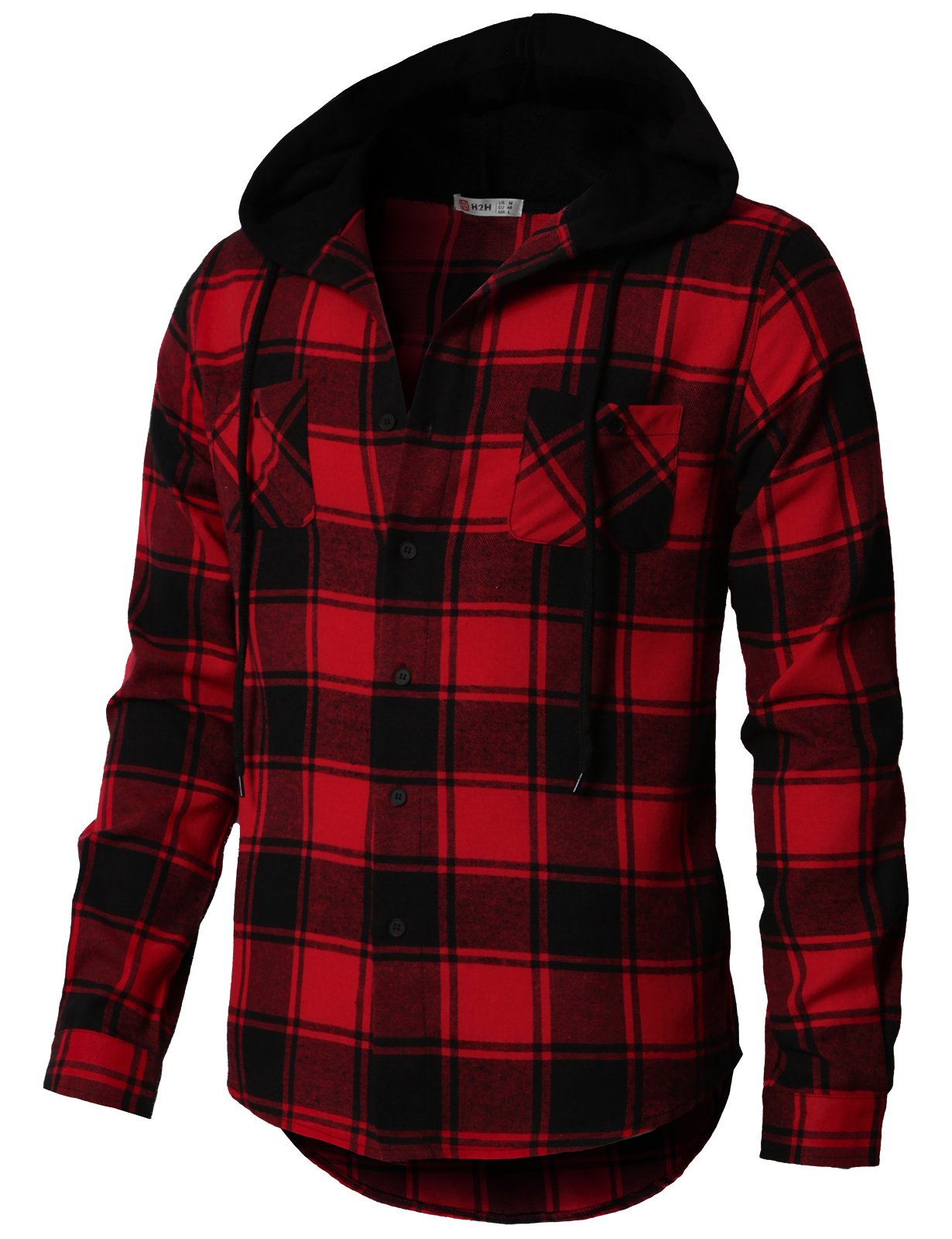 H2H Men's Casual Plaid Long Sleeve Button Down Shirt Hooded Shirts RED US M/Asia L (CMOJA0105)