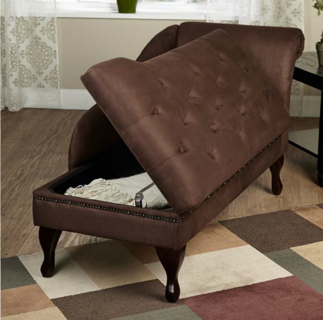Amazon.com Modern Storage Chaise Lounge Chair - This Tufted Cushions is Microfiber Upholstered - Perfect For Your Living Room Bedroom or Any Space in ... : chaise lounge bench - Sectionals, Sofas & Couches