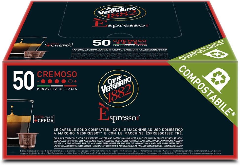 Caff� Vergnano 1882 �spresso Cremoso, 50 Capsule, Compatibili Nespresso