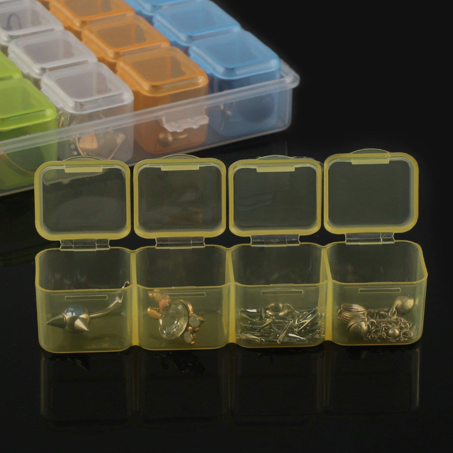 Clear Bead Container 28 Compartments with Secure Lids Transparent Jewelry Organizer for Seeds Craft Making Accessories Removable Tiny Jewelry Storage Box