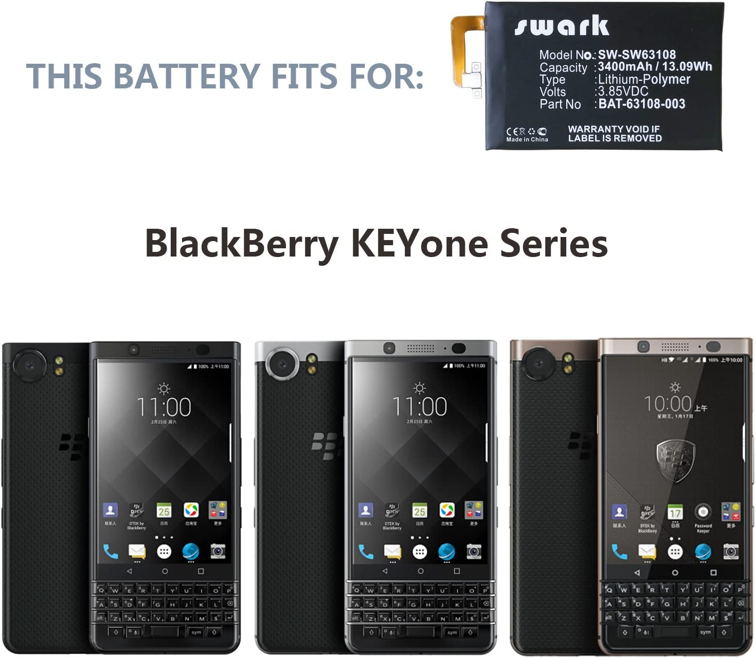 for AT/&T BlackBerry KEYone BBB100 Replacement Battery BAT-63108-003 Free Adhesive Tool