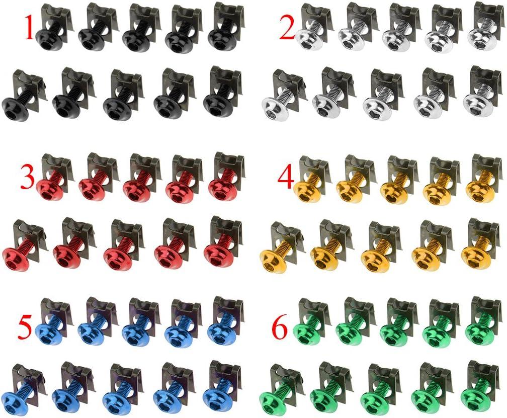 Azul Gazechimp 10 Tornillos Tuercas de Parachoques de M5//5mm Partes para Motocicleta de Honda Kit de Reemplazo