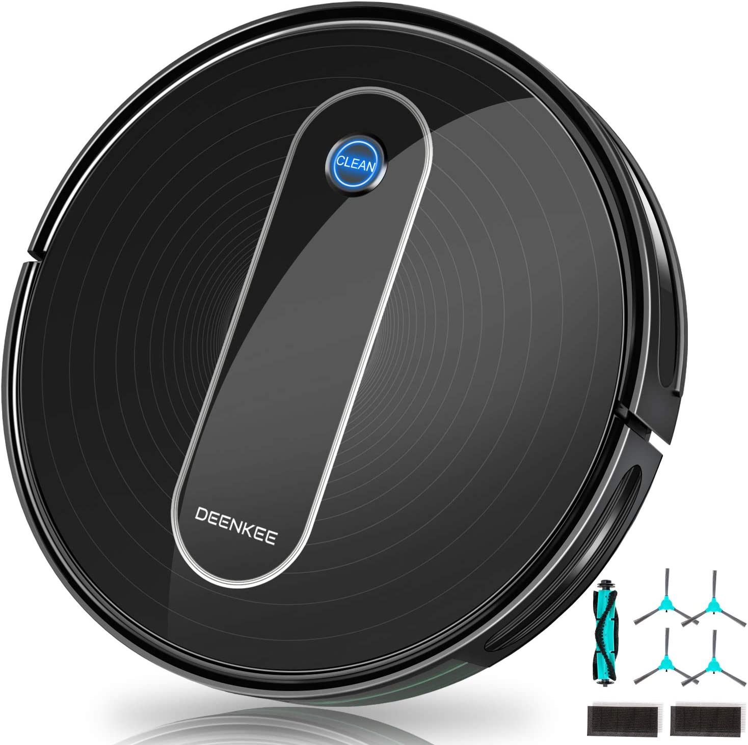 """Robot Vacuum, DEENKEE DK600 Robotic Vacuum Cleaner 1600Pa Strong Suction, Self-Charging, 2.75"""" Slim, Quiet, 100Min Runtime, 6 Cleaning Modes, Ideal for Pet Hair, Hard Floors, Carpets"""