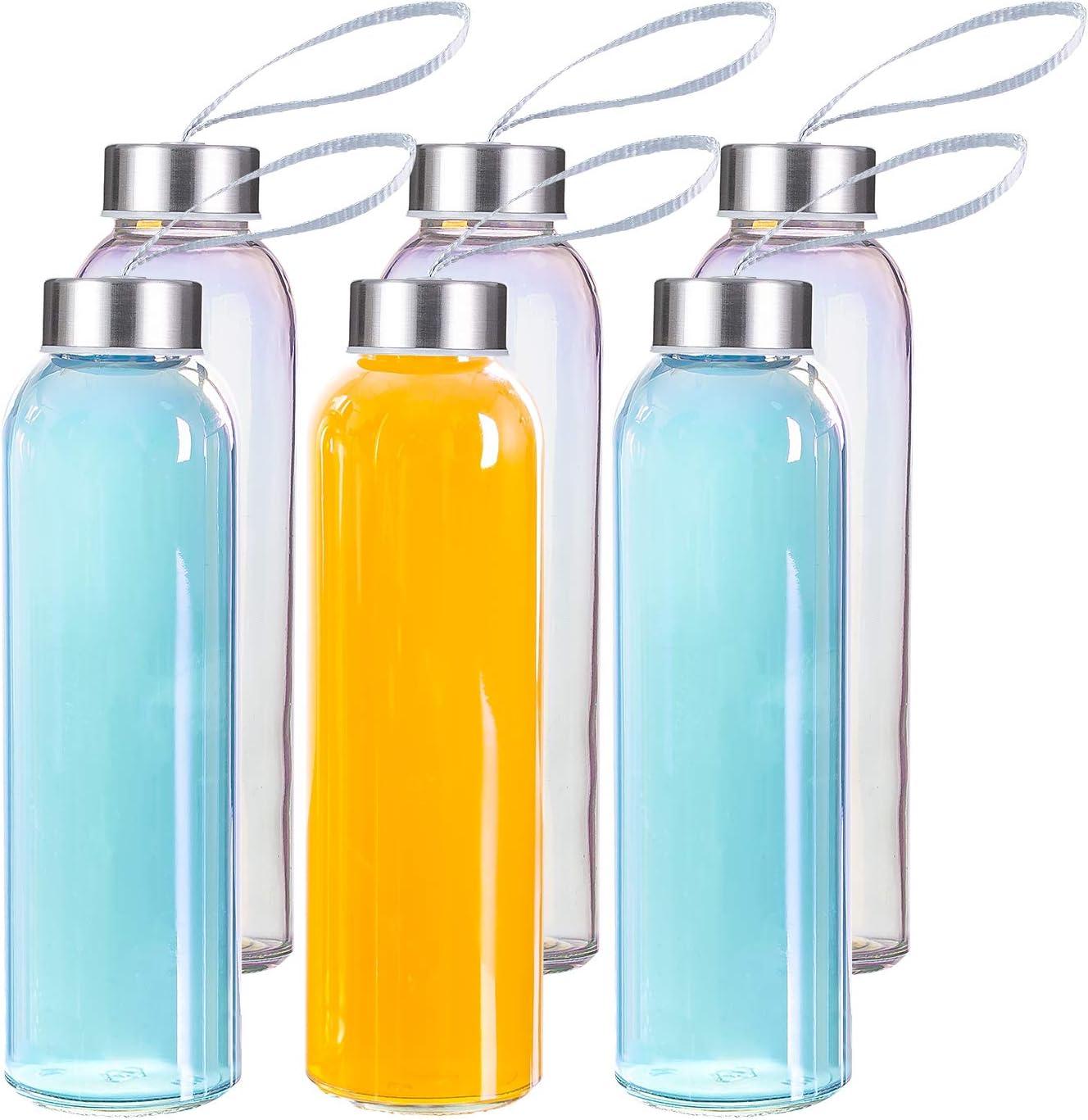 MASEN Juego de 6 botellas de agua de cristal, 500 ml, con tapa de acero inoxidable a prueba de fugas, para viajes y fitness
