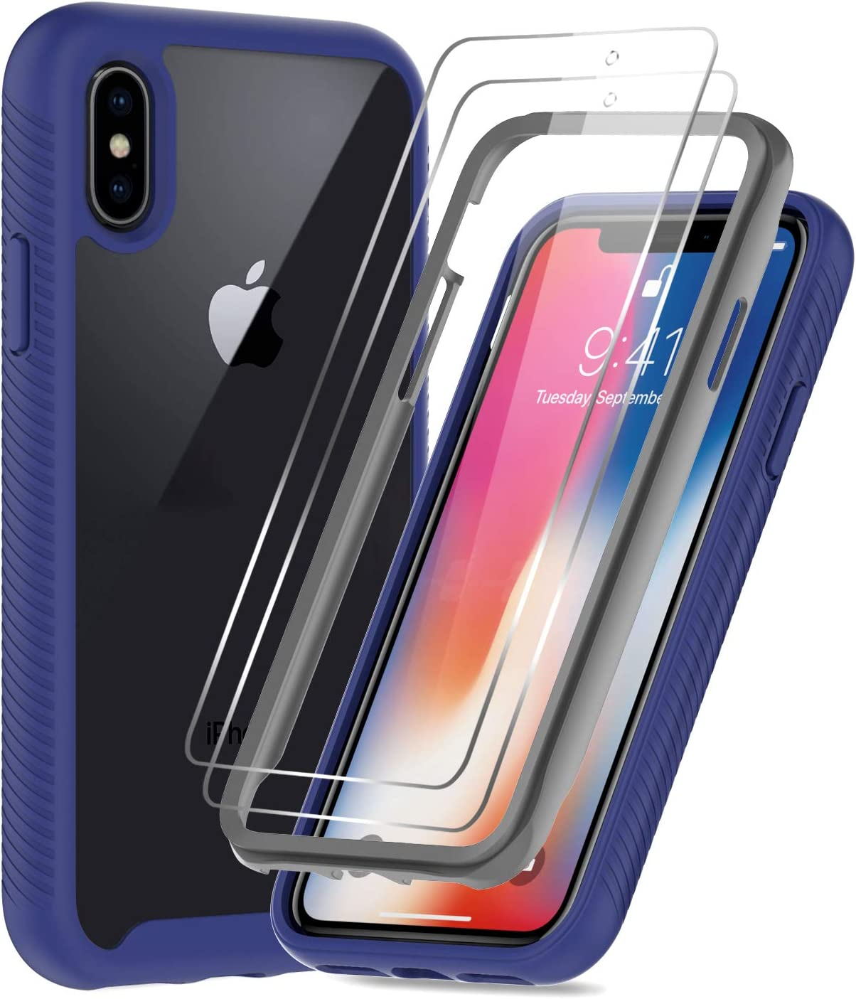 iPhone X Case, iPhone Xs Case with 2 Tempered Glass Screen Protector, LeYi Full-Body Shockproof Rugged Hybrid Bumper Heavy Duty Protective Phone Cover Cases for Apple iPhone X/iPhone Xs, Clear/Blue