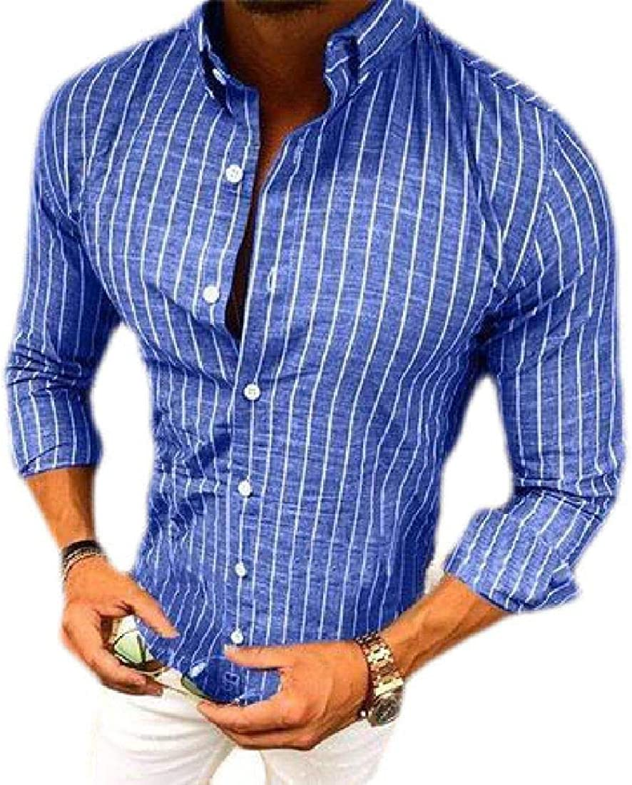 BU2H Men Long Sleeve Shirt Casual Regular-Fit Striped Button Down Stylish Shirts