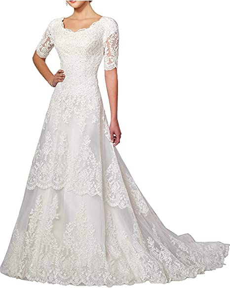Amazon.com: Vestido de novia de encaje con mangas para boda ...